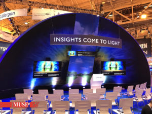 Curved LCD and stretch format LCD displays custom theater AV system in Allergan Eye Care tradeshow booth